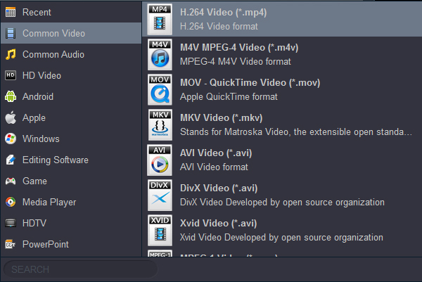 Convert video to H.264 MP4 for TV/Smart TV/LED TV/LCD TV