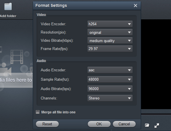 AVI to Vizio TV converter settings
